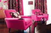 Feminine Living Room Design In Pink
