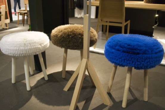 Fiber Horsehair And Wood Stools
