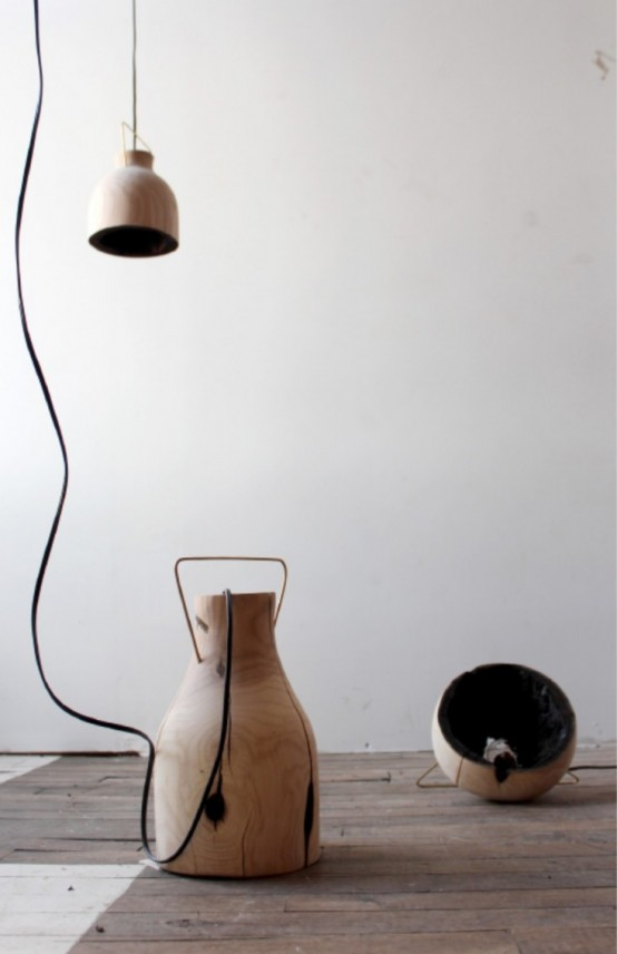 Fire Within: A Wooden Pendant Light With A Burnt Interior