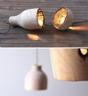 Fire Within A Wooden Pendant Light With A Burnt Interior