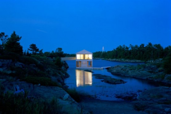 Floating Cedar House On The Side Of Lake Huron