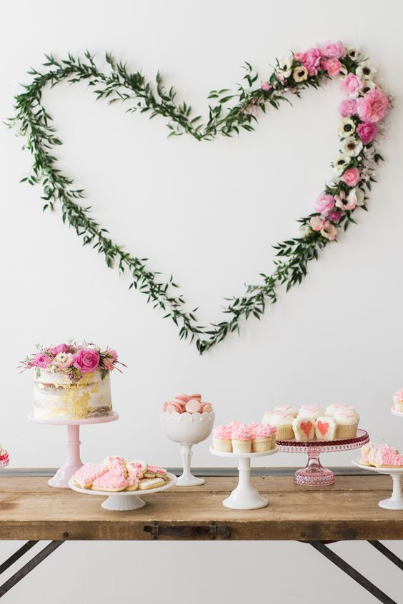 floral girlish dessert table for a modern baby shower