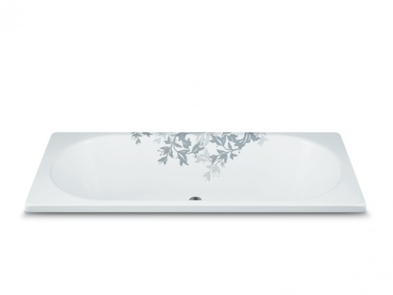 Floral Ornament Steel Bathtub