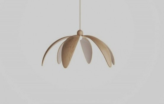 a pendant opened flower lamp of plywood and with white petals is a stylish accent for your interior