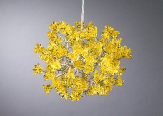a fantastic mustard-colored flower chandelier will make a statement in any space with its color and shape