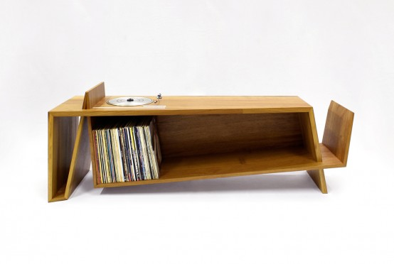 Folded Record Bureau Inspired By A MidCentury Console DigsDigs