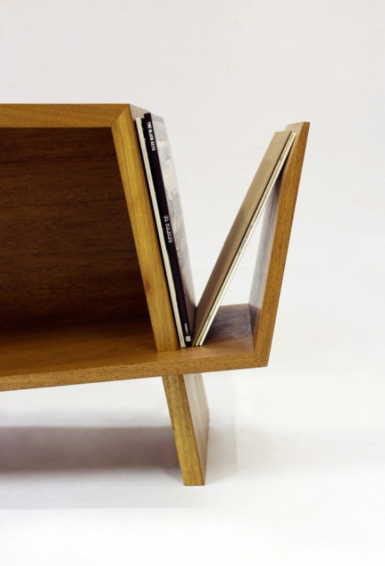 Folded record bureau inspired by a mid century console for Bureau records
