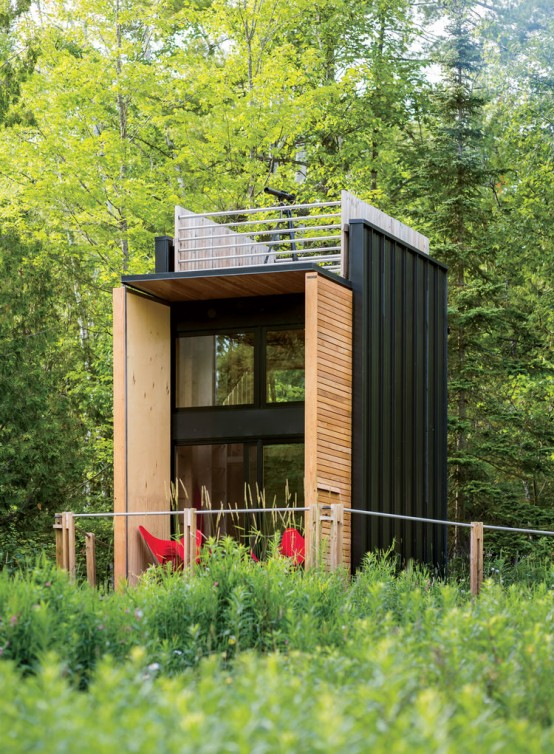 Forest Cabin Combining Small Living With The Camping