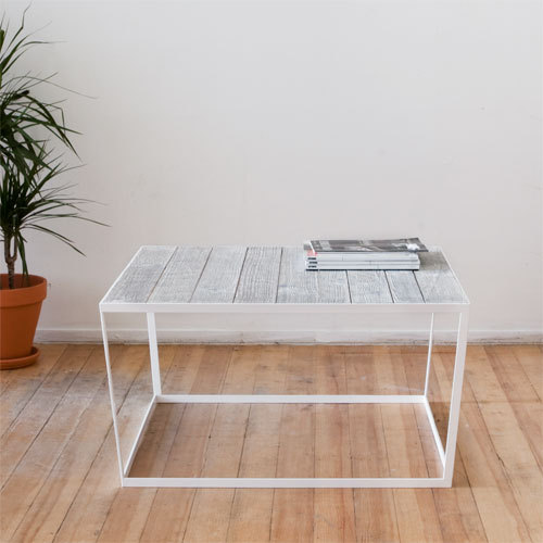 Modern Coffee Table With White and Black Sandblasted Oak Top