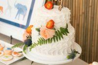 fresh flower cake for a modern baby shower