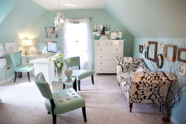 aqua walls and furniture paired with whites will create a light and airy feeling in your home office