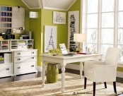 olive green walls and bright white in front of them will create a bold and fun space with a spring feel