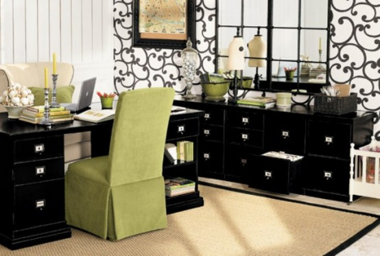 a bright green chair and a pillow refresh the home office and make it feel more spring-like