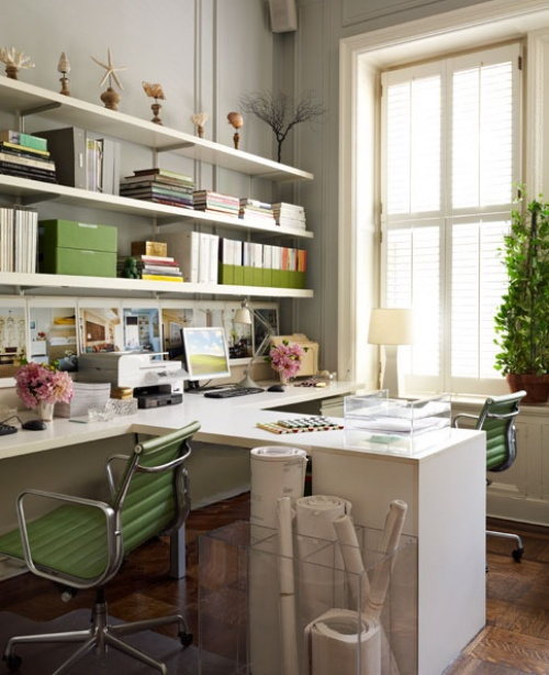 25 home office decor ideas to bring spring to your for Home office idea