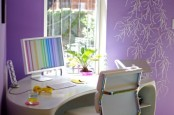 lilac wallpaper, lights on the wall and fresh greenery in a bright purple pot for a cool and fun spring-like look