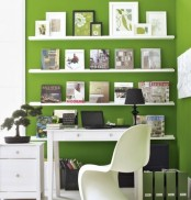 paint the walls in your home office green or use some removable wallpaper in such shades for a spring feel