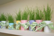 pastel tin cans with wheatgrass and green bows is great for spring decor and will fill the space with color