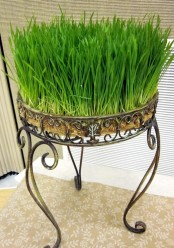 a refined forged stand with wheatgrass is a bold spring statement for any outdoor space
