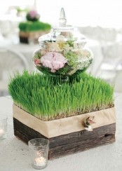 a square wooden box with wheatgrass and a jar with blooms on top plus candles around for spring decor