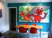 Fun And Cool Dining Area With Color Pops