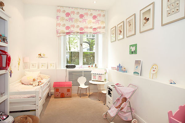 fun and cute kids room ideas with single bed and beautiful curtains