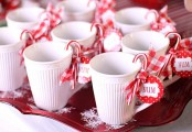 serve warm drinks and accent the mugs with candy canes and plaid ribbons to give them a strong festive feel
