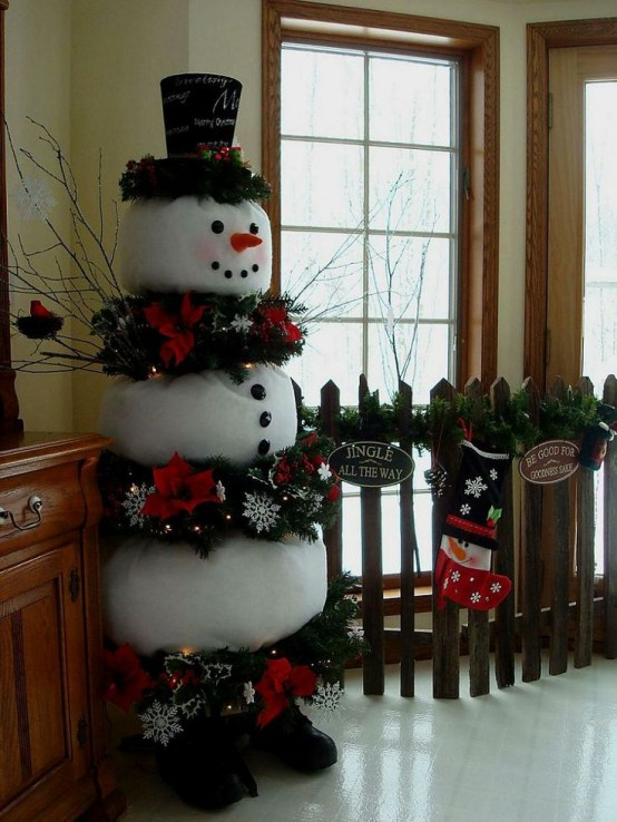 29 Fun Snowman Christmas Decorations For Your Home - DigsDigs