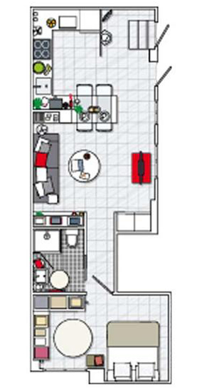 Functional Black White Red Small Apartment