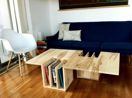 Functional Wooden Coffee Table With A Counter