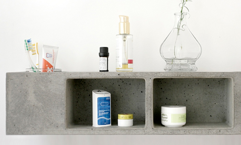 Functional Concrete Bathroom Shelf by Sascha Czerny