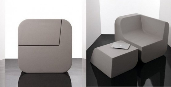 Functional Minimalist Seat And Side Table Of Foam