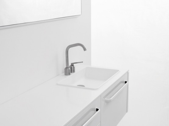 Functional Minimalist White Bathroom Furniture
