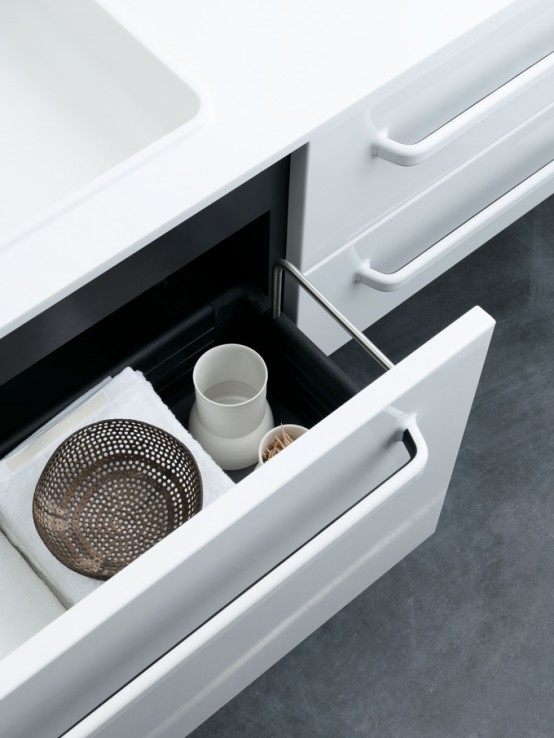 Functional Minimalist White Bathroom Furniture