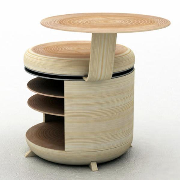 Functional modular storage unit that also acts as a chair for Table ke design