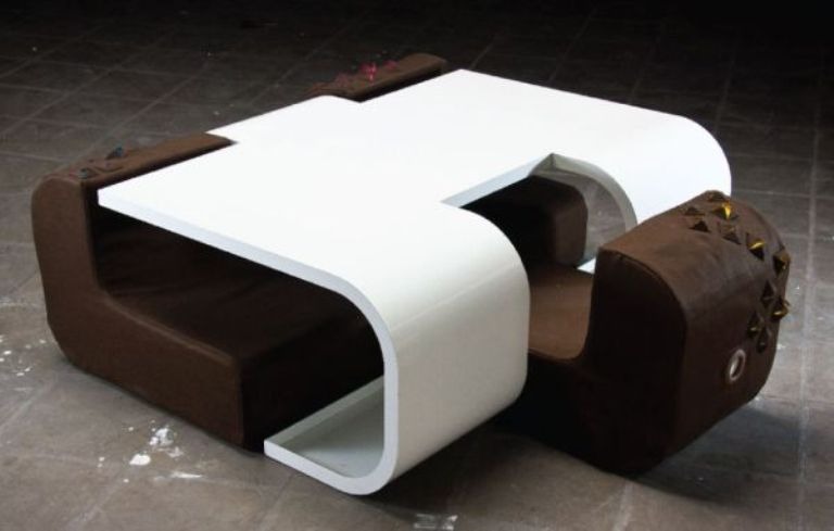 Functional Piece Of A Table And Three Sofas