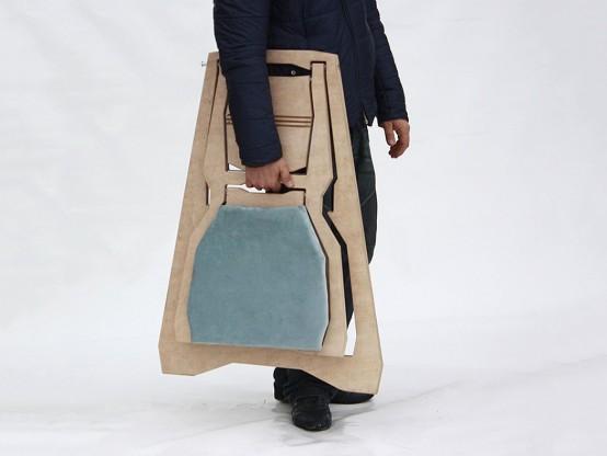 Functional Sleek Chair Of A Flat Sheet Of Wood
