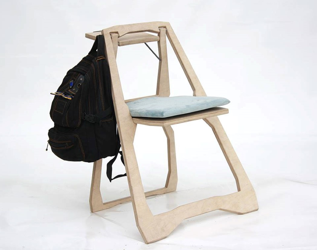 Picture Of functional sleek chair of a flat sheet of wood  2