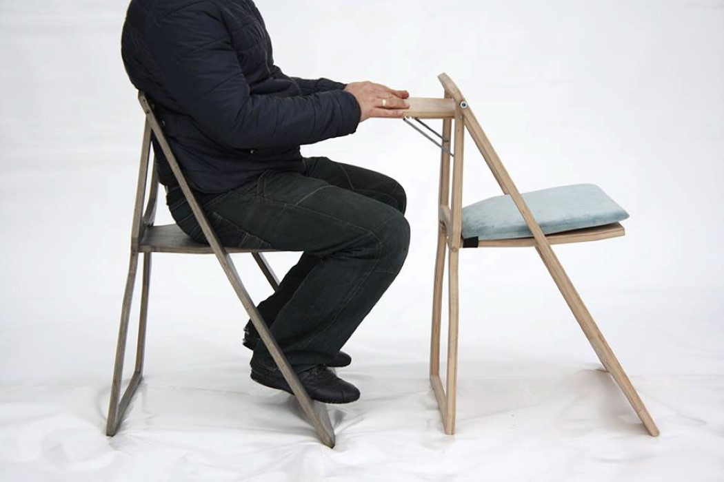 Picture Of functional sleek chair of a flat sheet of wood  3