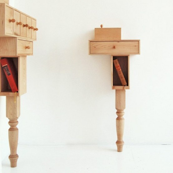 Functional Small Nightstand Of Maple Wood