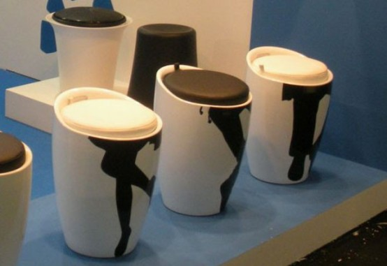 Funky Beat Hide Silhouette Stool With A Storage Space
