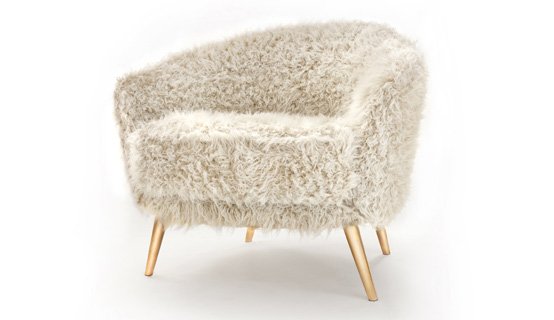 Upholstered In Fur Armchair With Golden Legs