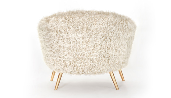 Fur Armchair With Golden Legs