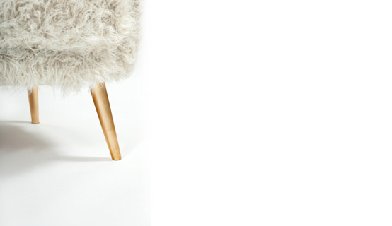 Fur Armchair With Golden Legs