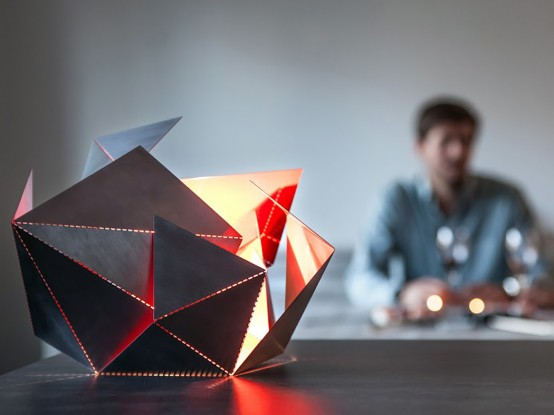 Futuristic And Geometric Origami Lamp Of Steel