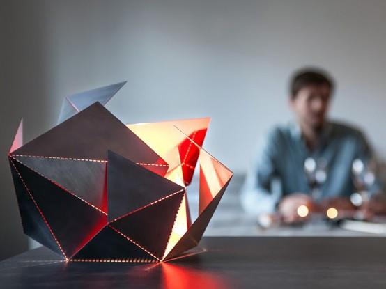 Futuristic And Geometric Origami Lamp Of Steel - DigsDigs