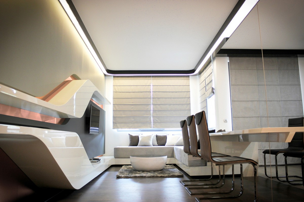 Futuristic apartment for high technologies lovers digsdigs for Apartment design examples