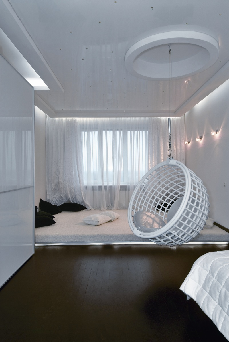 Futuristic apartment interior that reminds a salt cave for Apartment interior design ideas