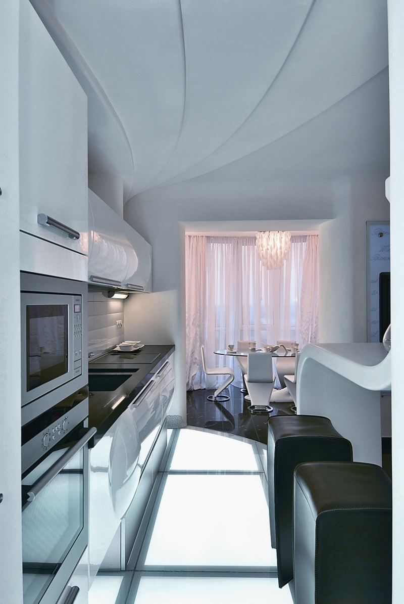 Futuristic apartment interior that reminds a salt cave for Apartment interior decoration