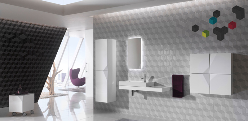 Futuristic Bathroom Wall Treatments and Cabinetry – Cube & Dot by Kale