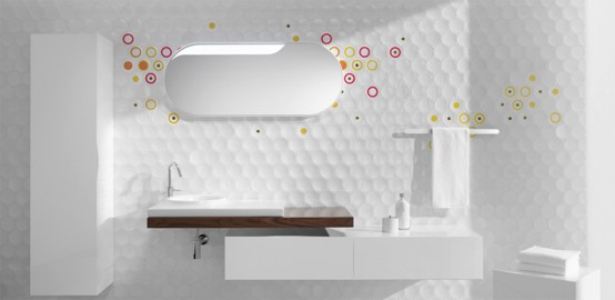 Delightful Futuristic Bathroom Wall Treatments
